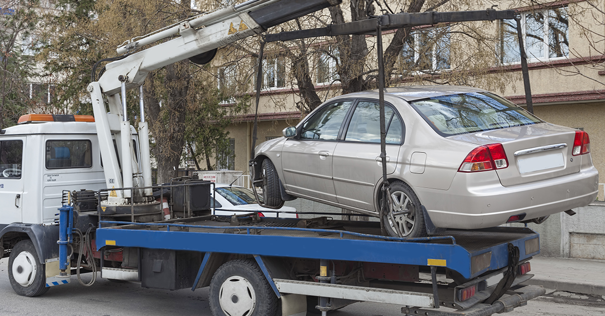 Car being towed repossessed